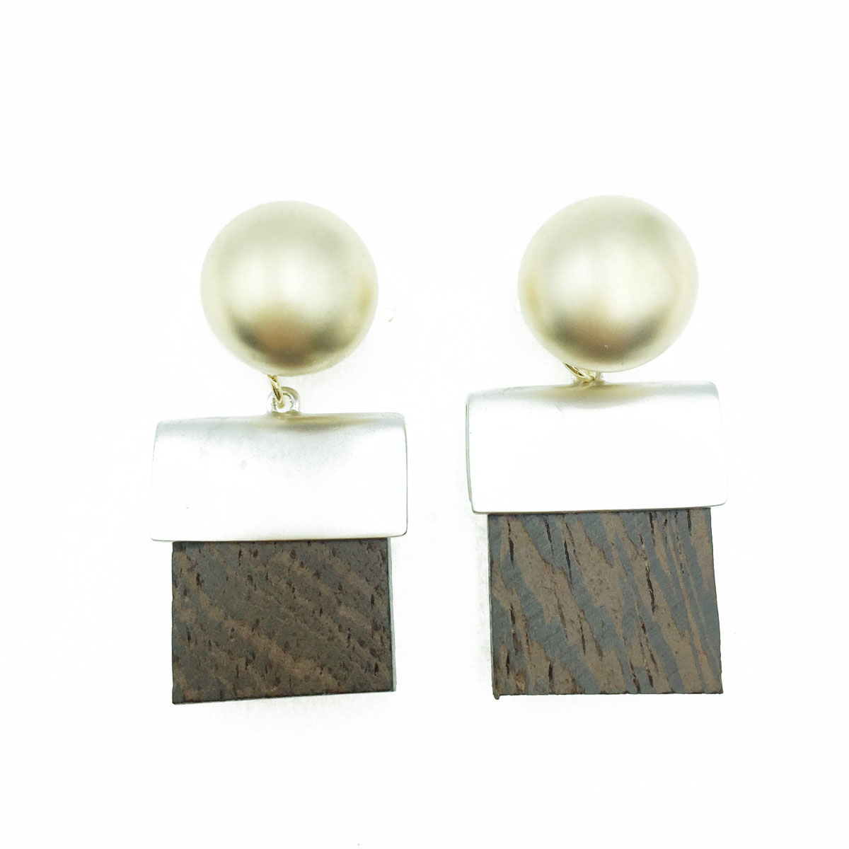 韓國 925純銀 金屬 方形木質 垂墜感 耳針式耳環