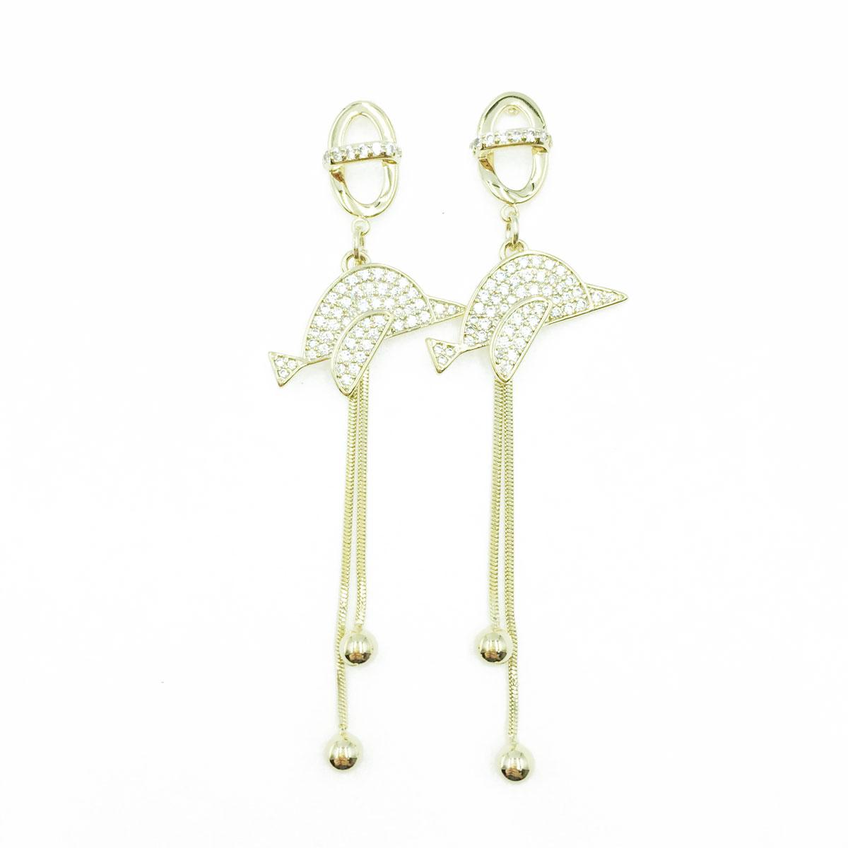 韓國 925純銀 海豚 造型 垂墜感 耳針式耳環