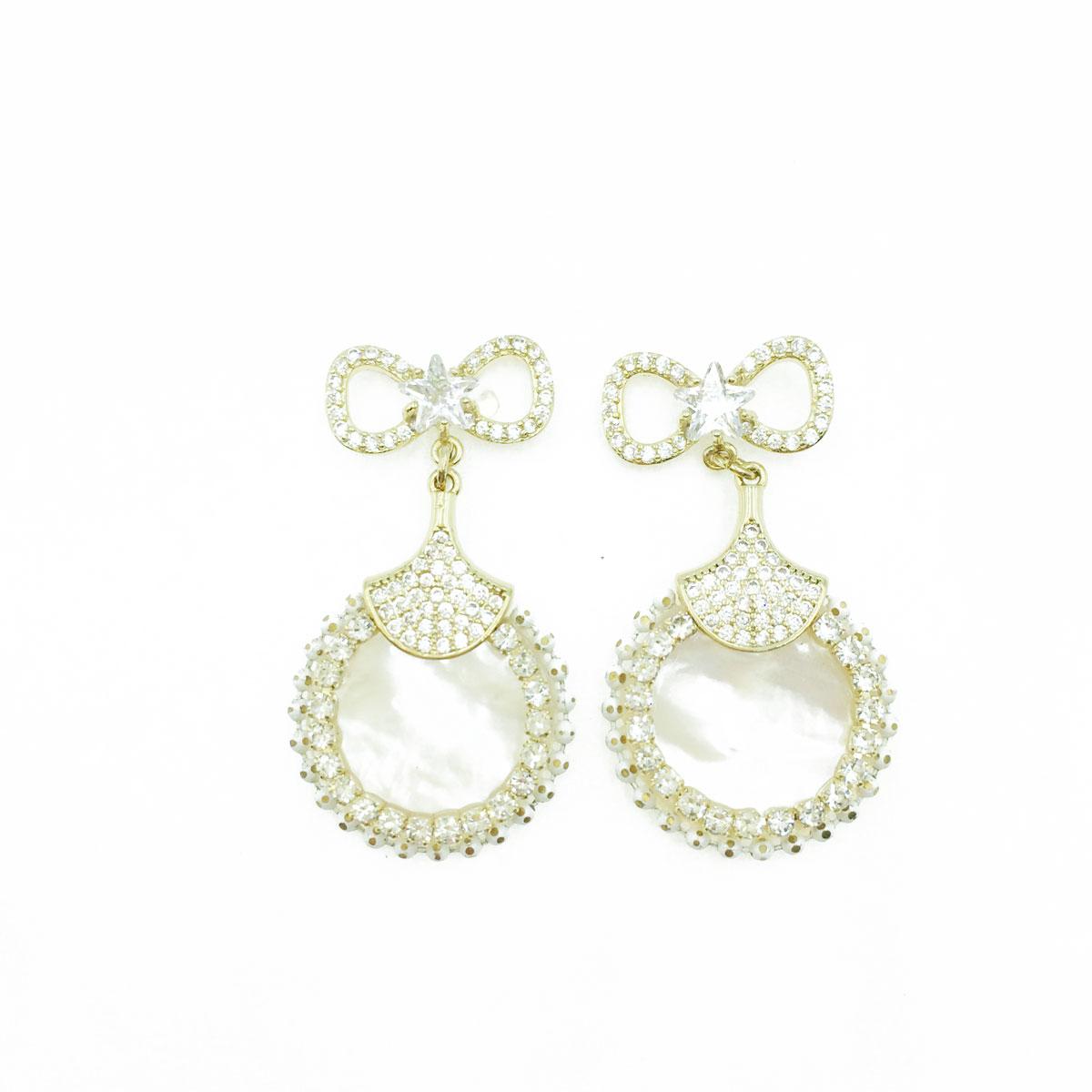 韓國 925純銀 星星 簍空 蝴蝶結 水鑽 貝殼圓 垂墜感 耳針式耳環