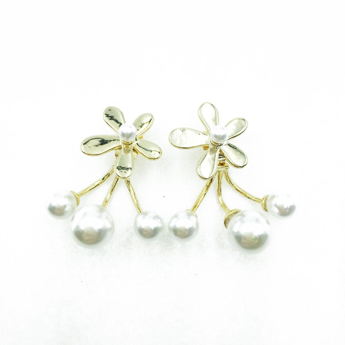 韓國 925純銀 小花 珍珠 後勾式 耳針式耳環