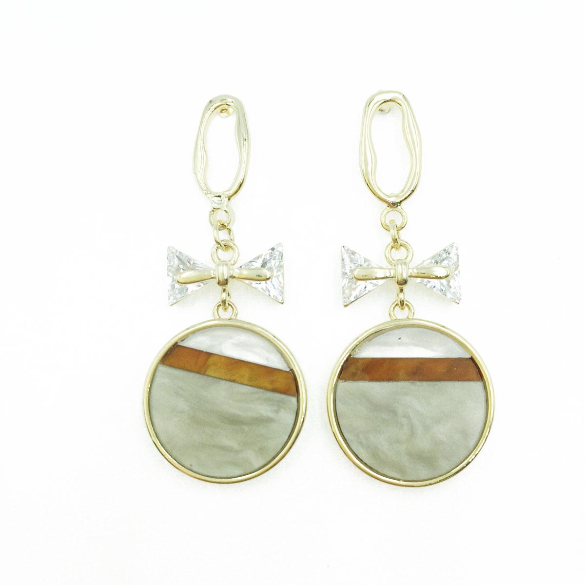 韓國 925純銀 水鑽 蝴蝶結 大理石 圓 造型 垂墜感 耳針式耳環