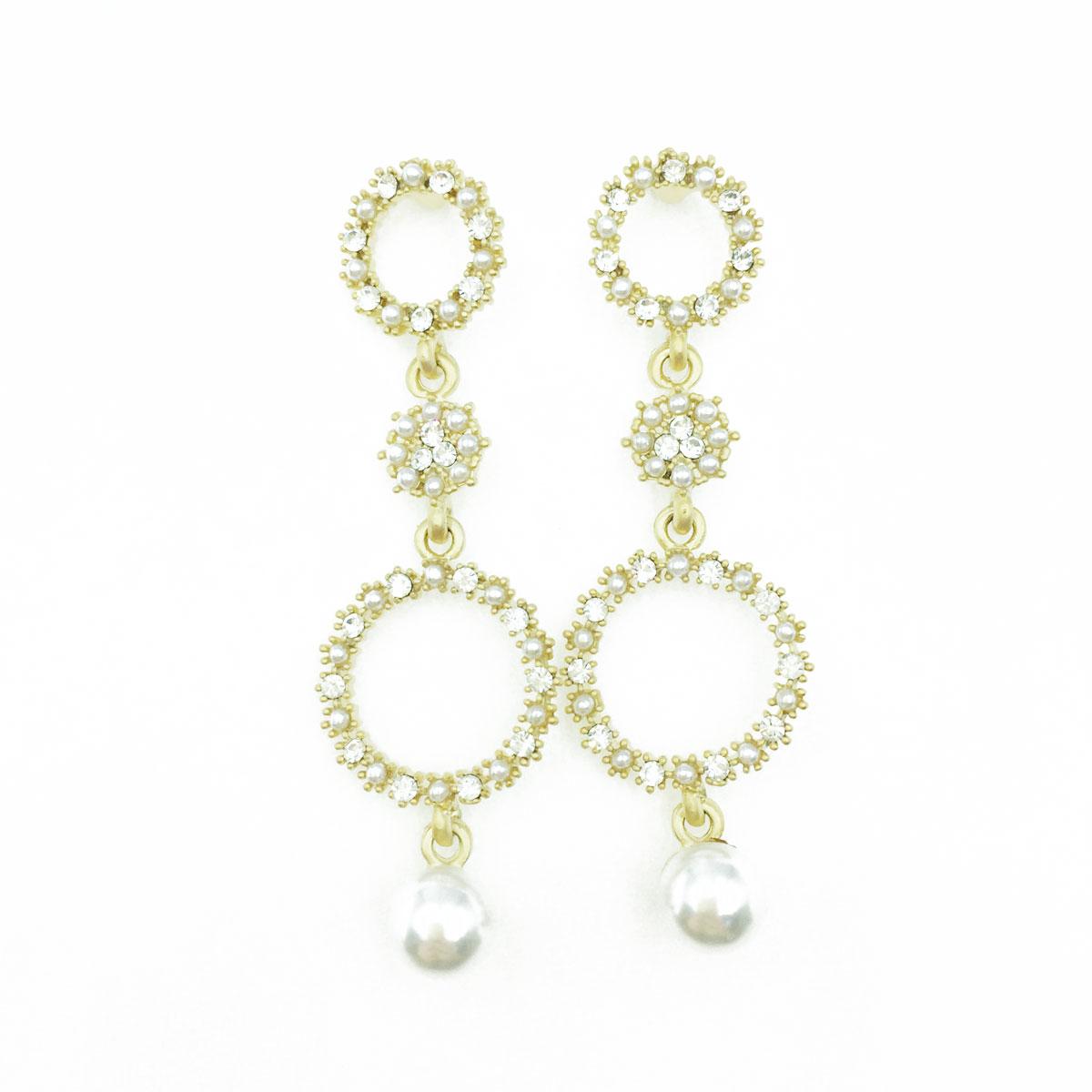 韓國 925純銀 水鑽 簍空圓 珍珠 垂墜感 耳針式耳環