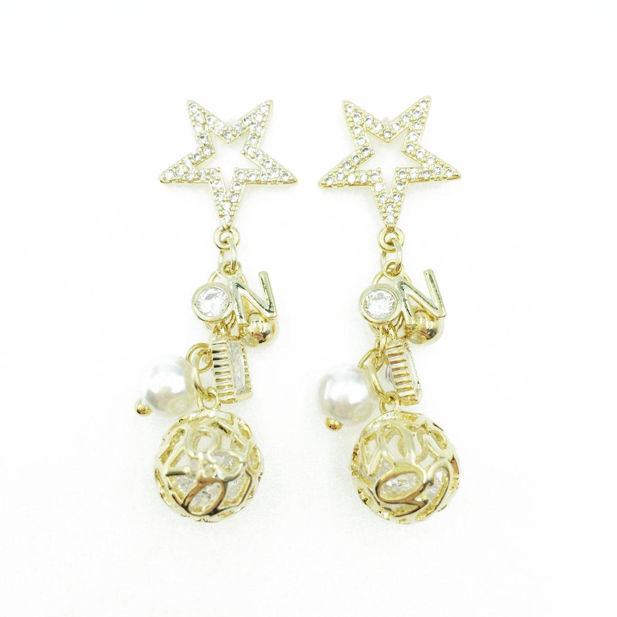 韓國 925純銀 水鑽 星星 珍珠 金屬 簍空球 垂墜感 耳針式耳環