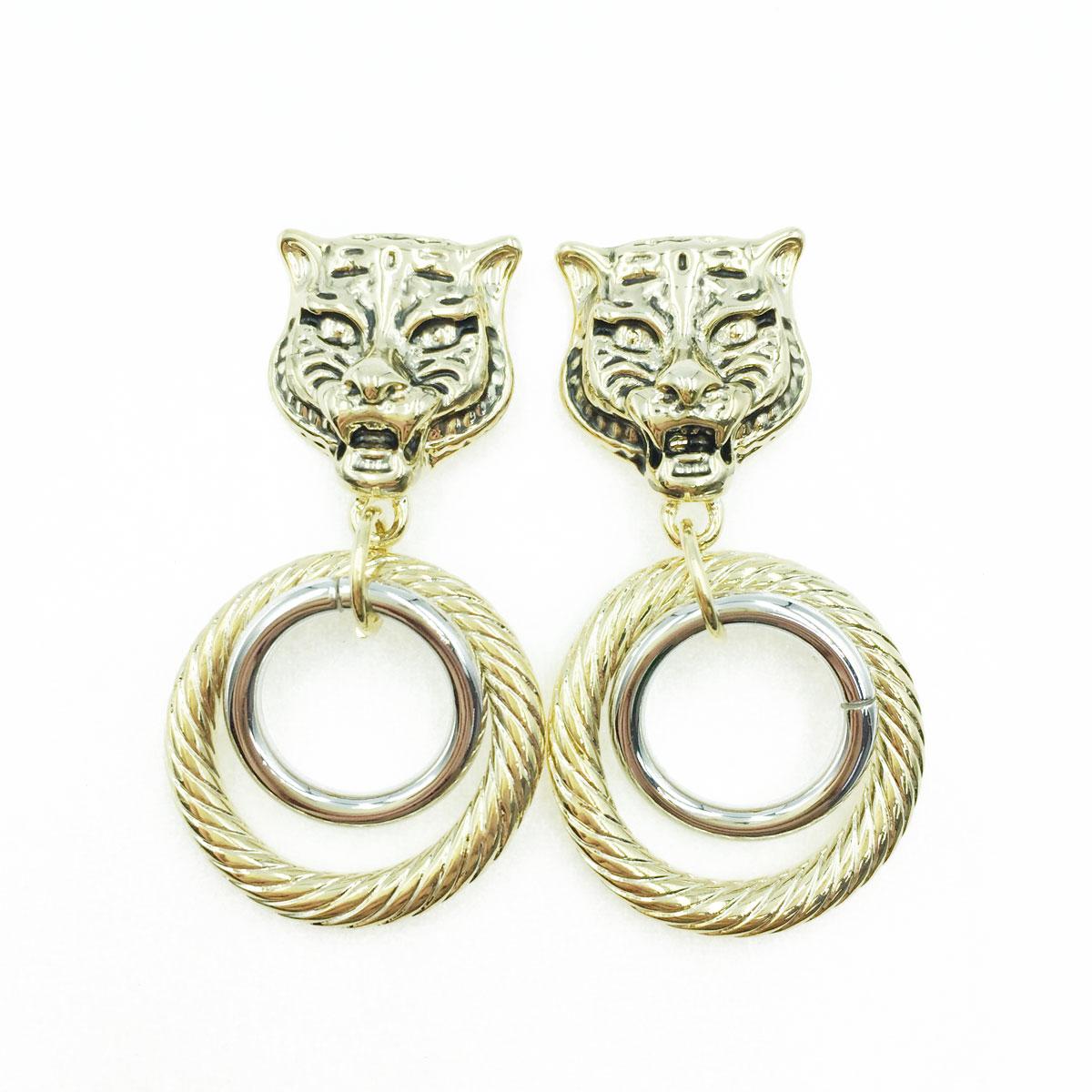 韓國 925純銀 動物 豹 造型 金屬 雙色 簍空 圓 垂墜感 耳針式耳環
