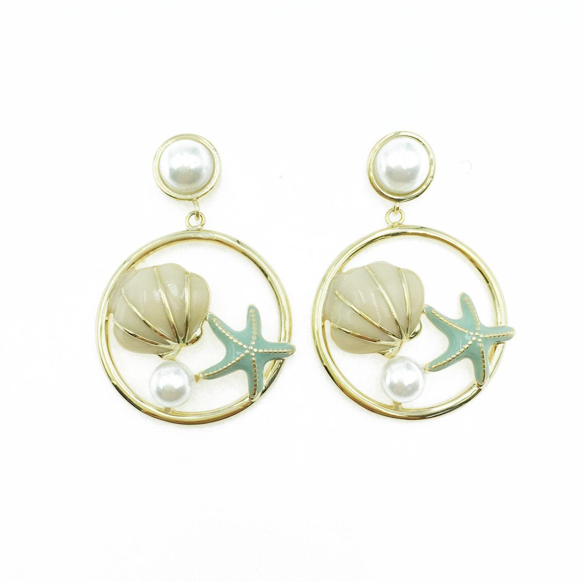 韓國 925純銀 珍珠 海星 貝殼 造型 耳針式耳環