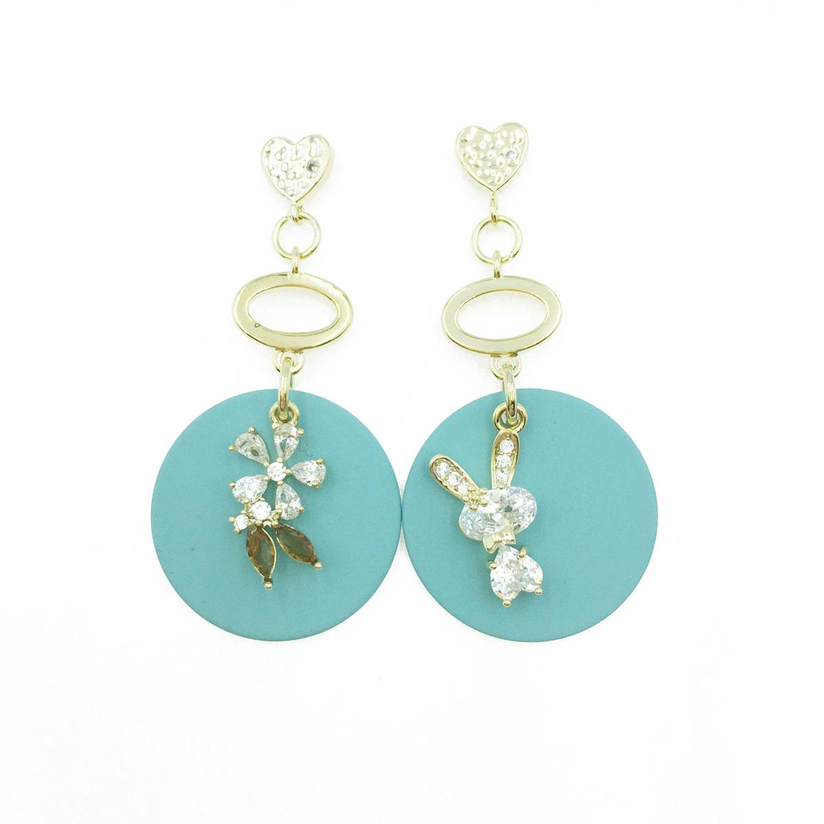 韓國 925純銀 愛心 金屬 簍空 水鑽 小花 兔子 不對稱 垂墜感 耳針式耳環