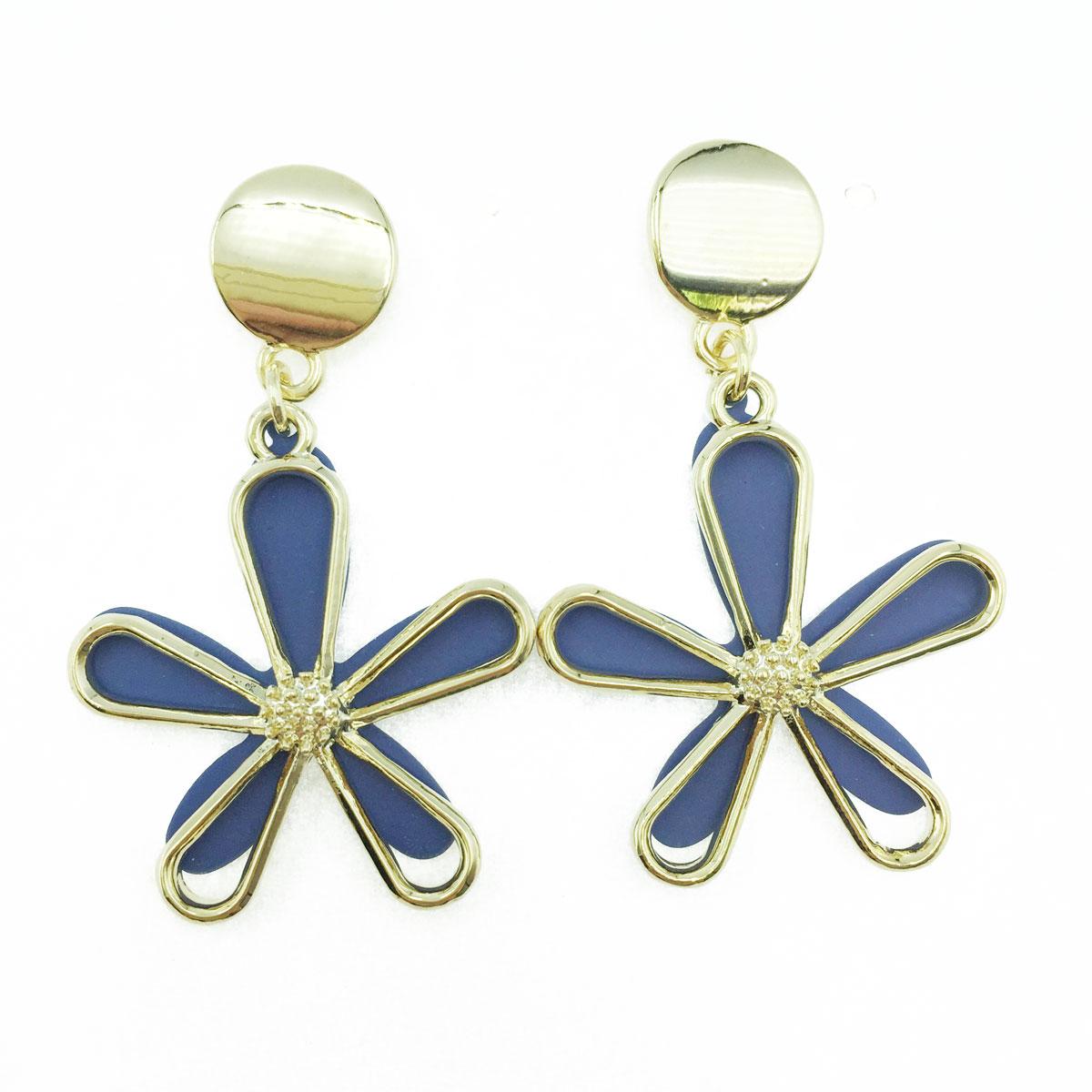 韓國 925純銀 金屬 簍空 花瓣 造型 垂墜感 耳針式耳環