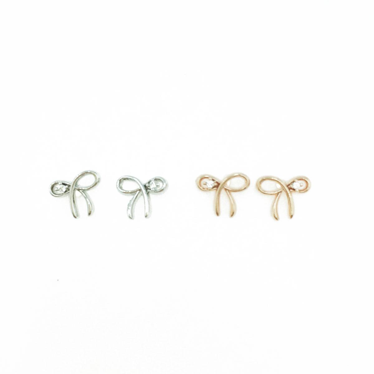 韓國 925純銀 水鑽 可愛 蝴蝶結 銀色 玫瑰金 明星款飾品 耳針式耳環