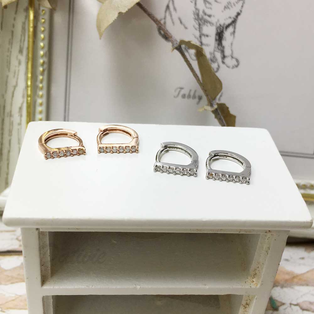 韓國 925純銀 水鑽 銀 玫瑰金 明星款飾品 易扣式耳環