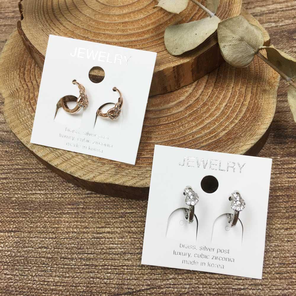 韓國 925純銀 水鑽結 造型 銀色 玫瑰金 明星款飾品 易扣式耳環