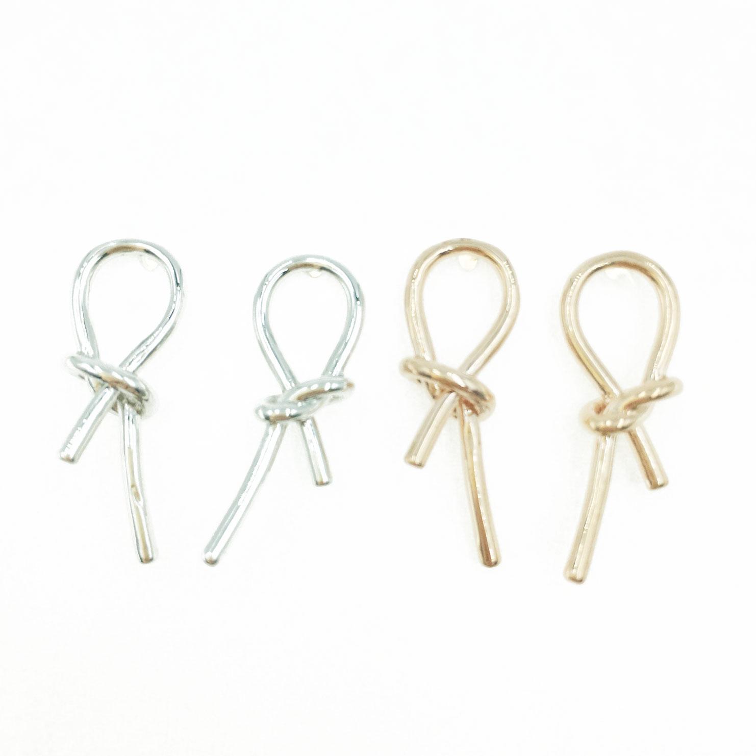 韓國 925純銀 打結 造型 銀 玫瑰金 明星款飾品 耳針式耳環