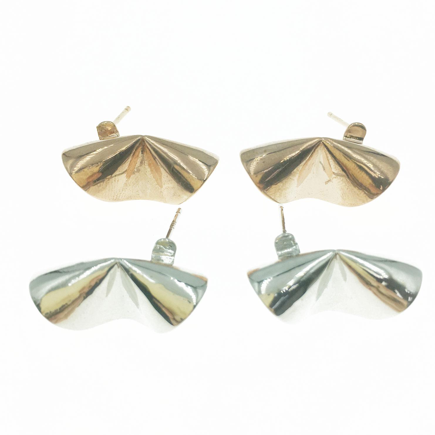 韓國 925純銀 金屬 造型 銀 玫瑰金 明星款飾品 耳針式耳環