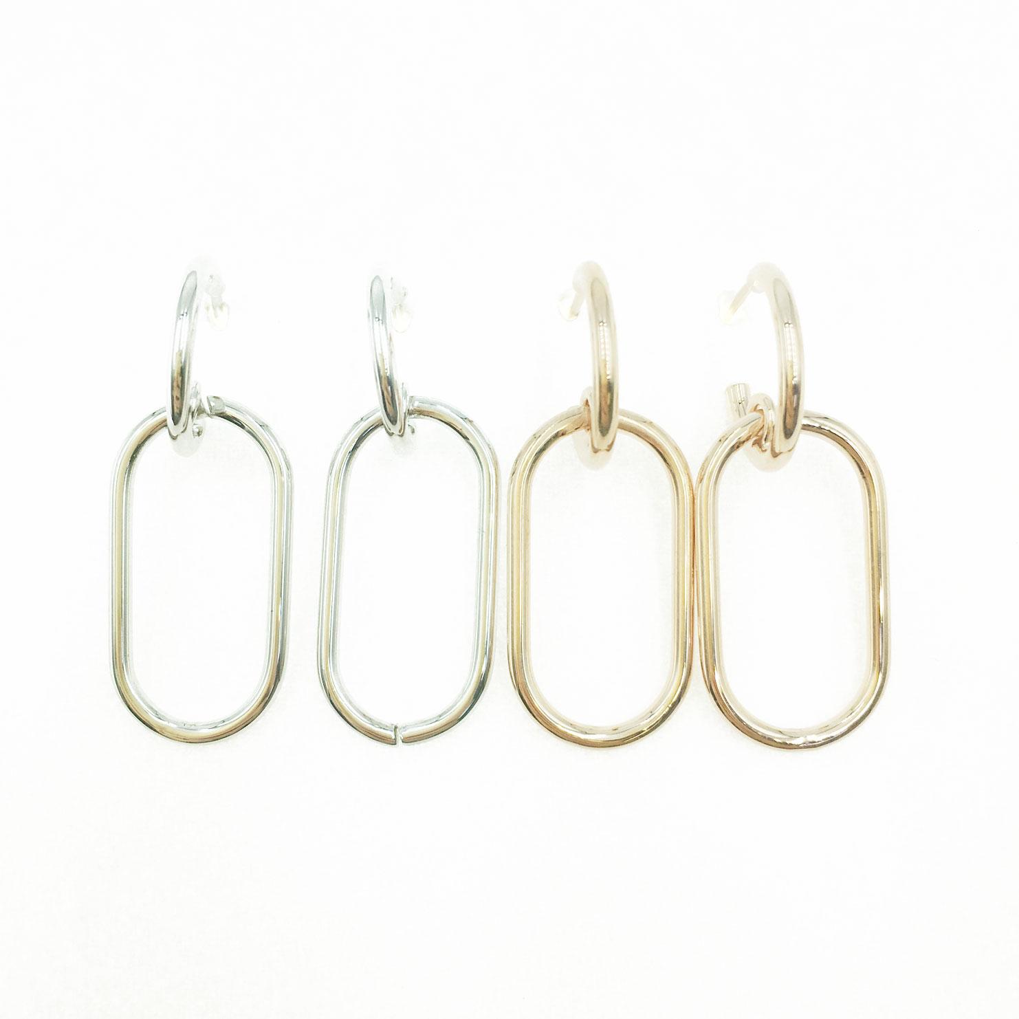韓國 925純銀 簍空 橢圓 造型 銀 玫瑰金 明星款飾品 耳針式耳環
