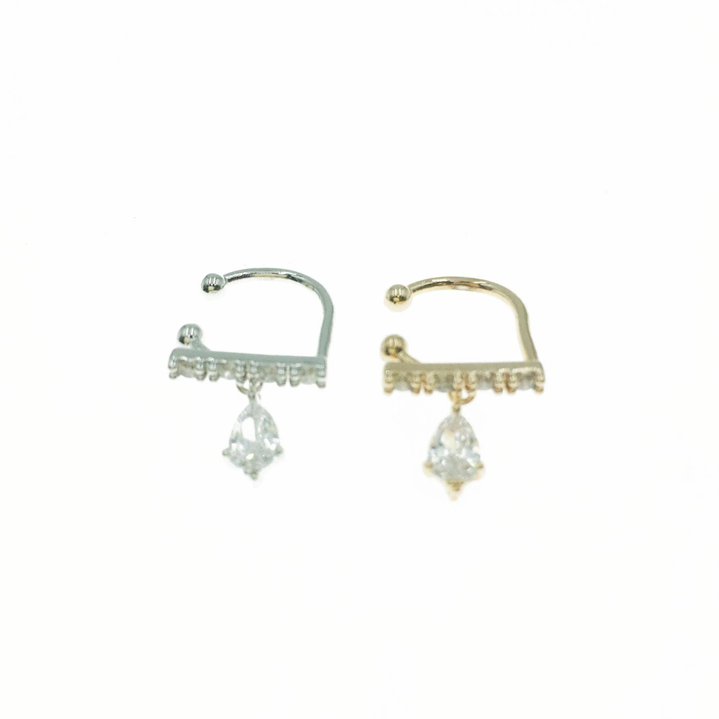 韓國 925純銀 水鑽 垂墜 造型 銀 玫瑰金 耳骨夾 耳環