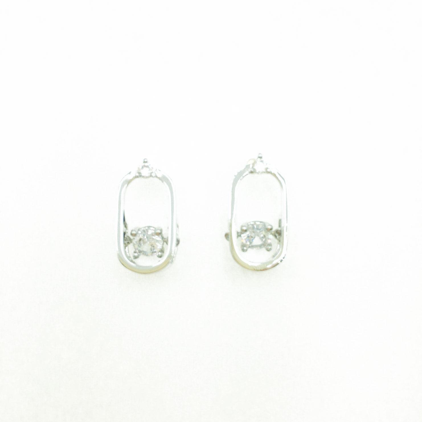 韓國 925純銀 水鑽 橢圓 簍空 造型 銀色 明星款飾品 耳針式耳環