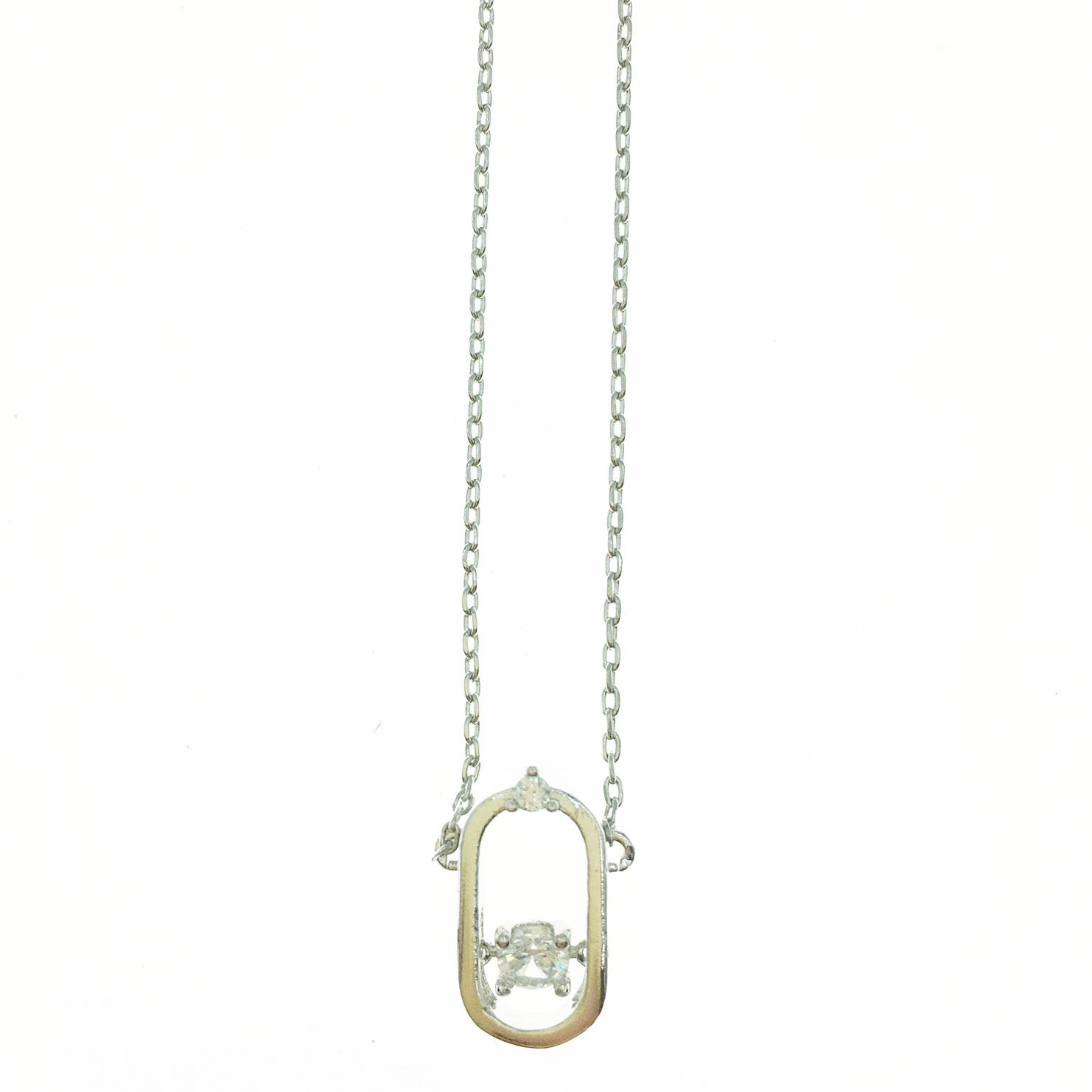 韓國 水鑽 橢圓 簍空 造型 銀色 明星款飾品 短鍊 項鍊
