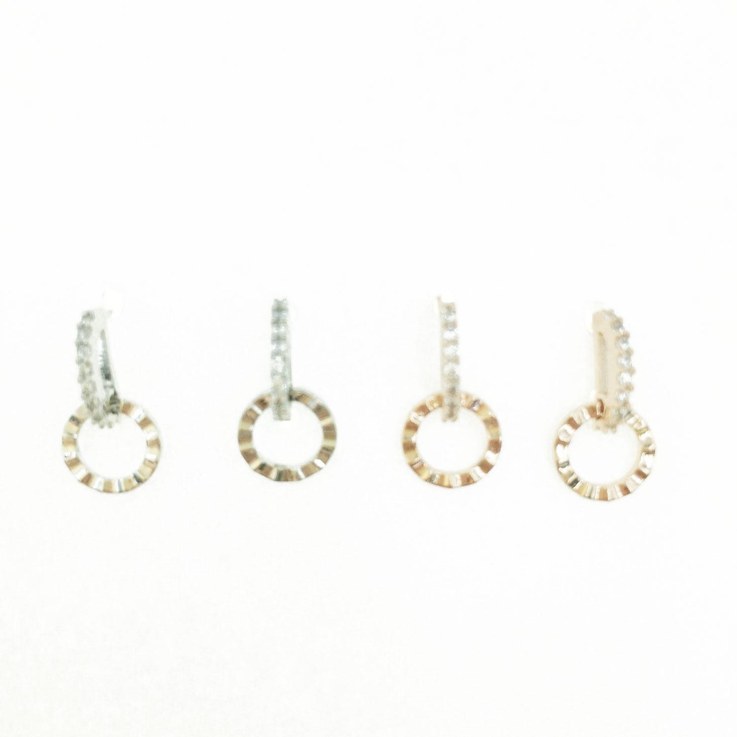 韓國 925純銀 水鑽 簍空 圓 造型 銀 玫瑰金 明星款飾品 耳針式耳環
