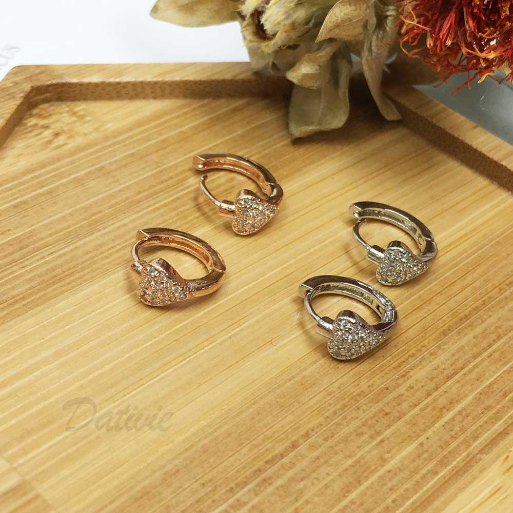 韓國 抗敏電鍍 愛心 鑲鑽 造型 玫瑰金 易扣式耳環