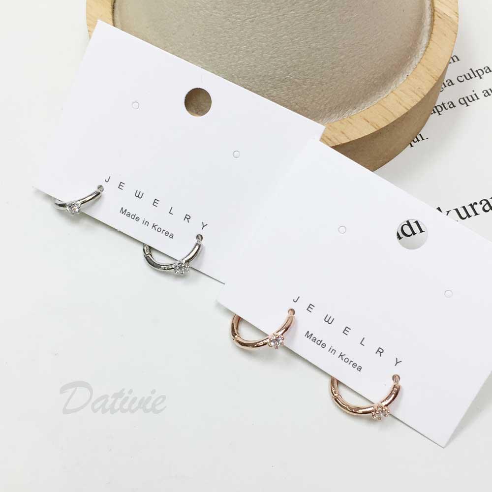 韓國 抗敏電鍍 閃耀 水鑽 造型 銀色 易扣式耳環