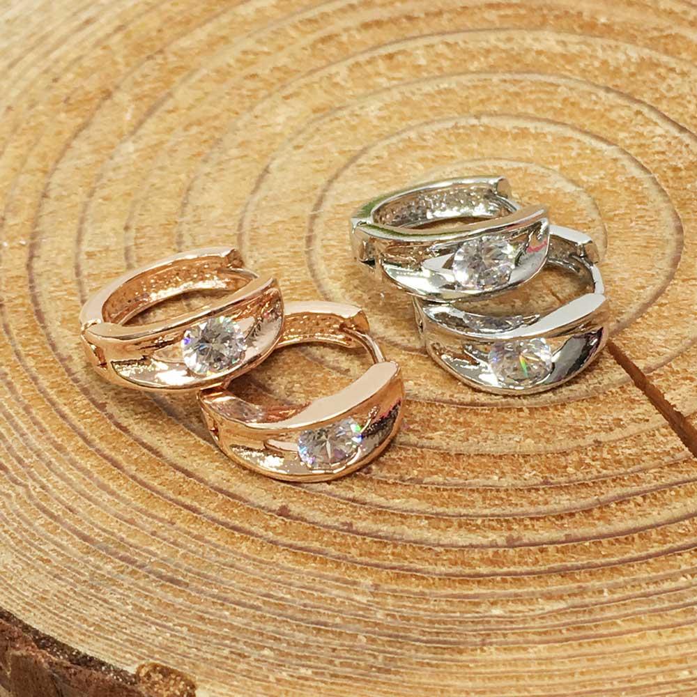 韓國 抗敏電鍍 閃耀 單鑽 造型 銀 玫瑰金 易扣式耳環