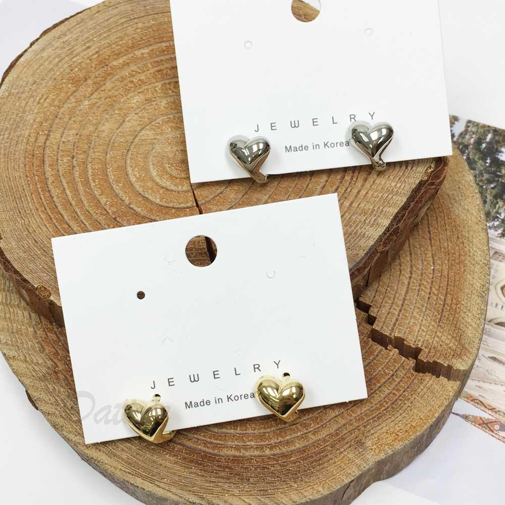 韓國 抗敏電鍍 愛心 造型 銀色 金色 易扣式耳環