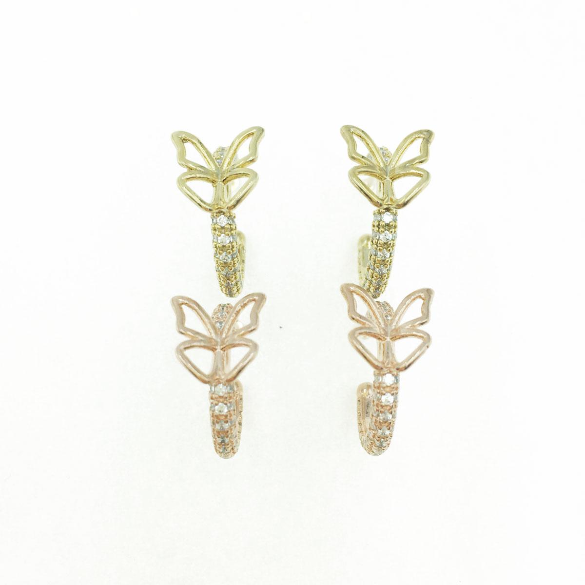 韓國 抗敏電鍍 C字型 水鑽 蝴蝶 造型 金色 玫瑰金 耳針式耳環