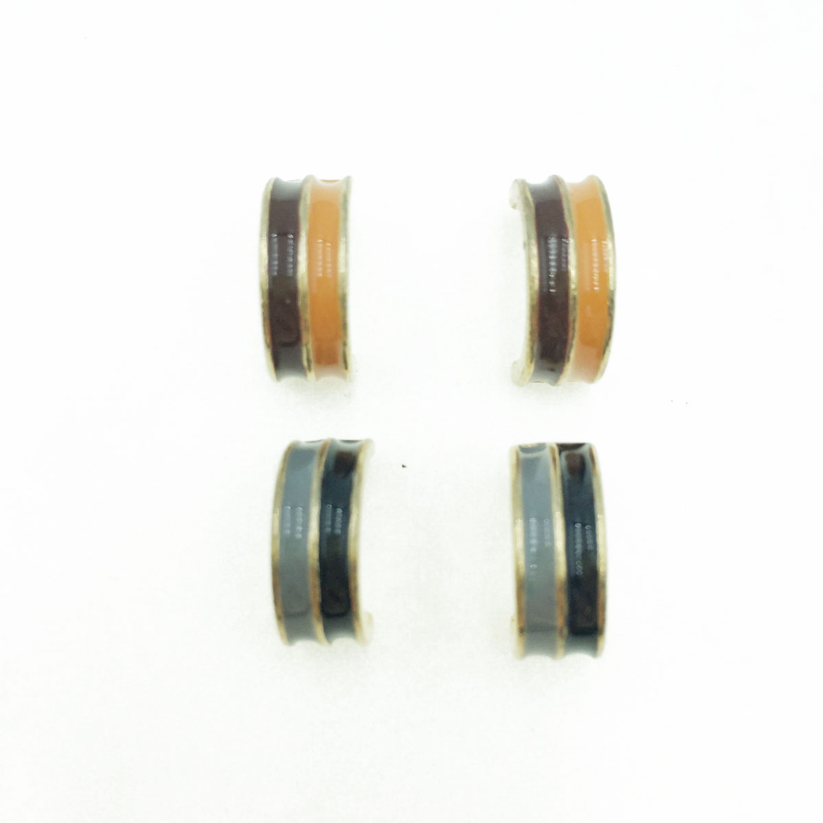 韓國 抗敏電鍍 雙色 小C造型 兩色 耳針式耳環
