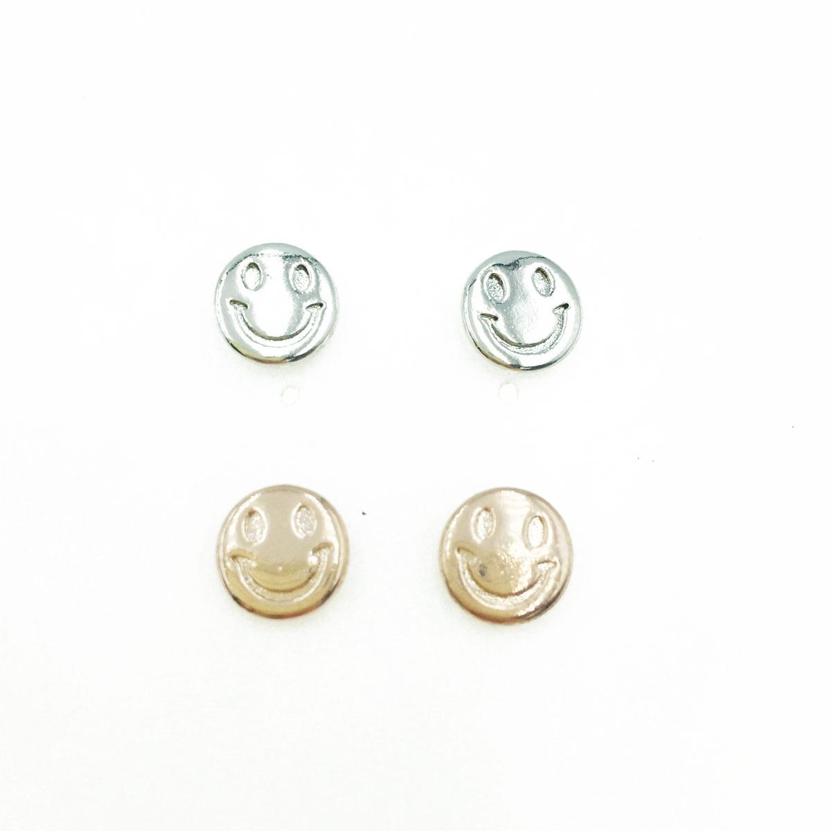 韓國 抗敏電鍍 笑臉 造型 銀 玫瑰金 耳針式耳環
