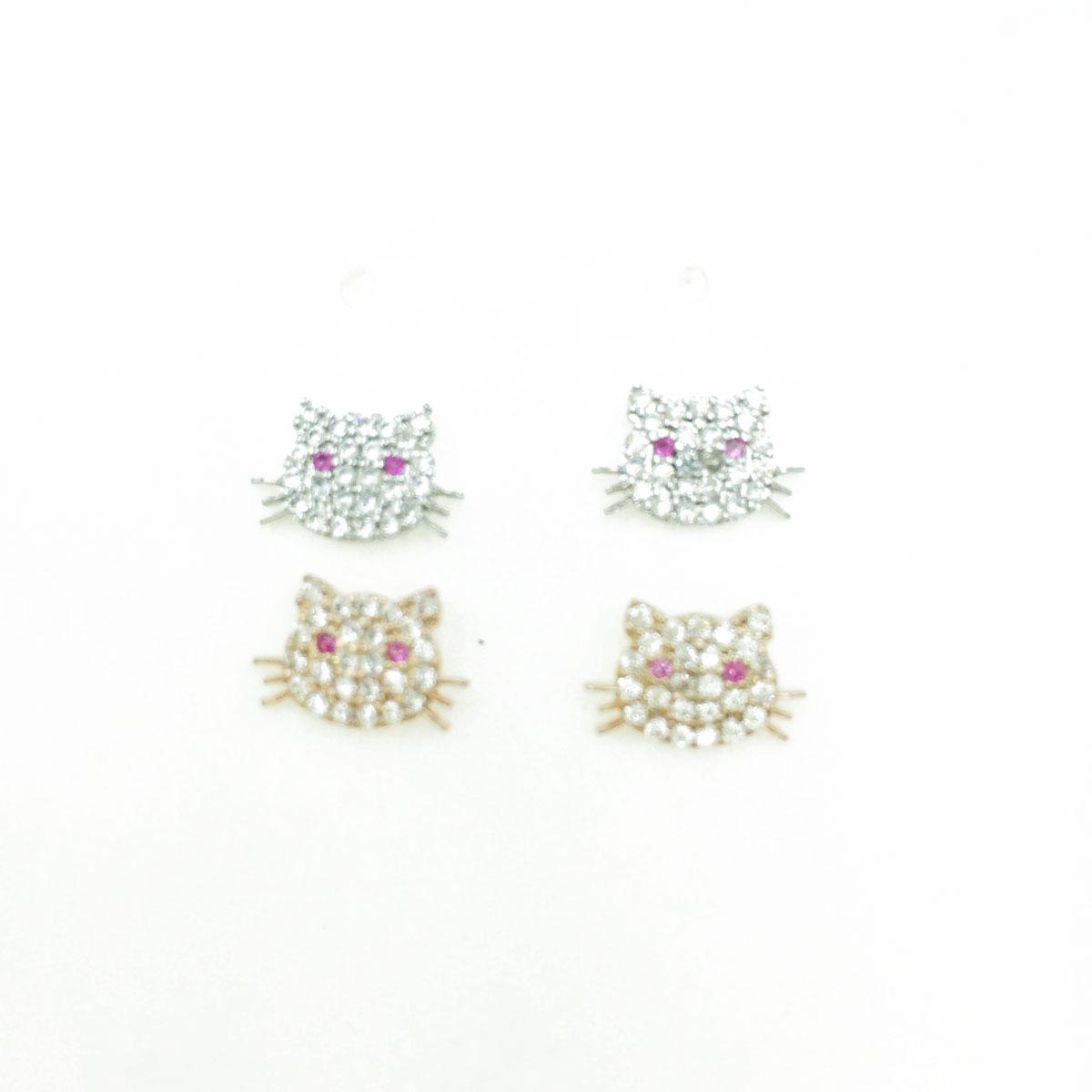 韓國 抗敏電鍍 貓咪 造型 銀 玫瑰金 耳針式耳環