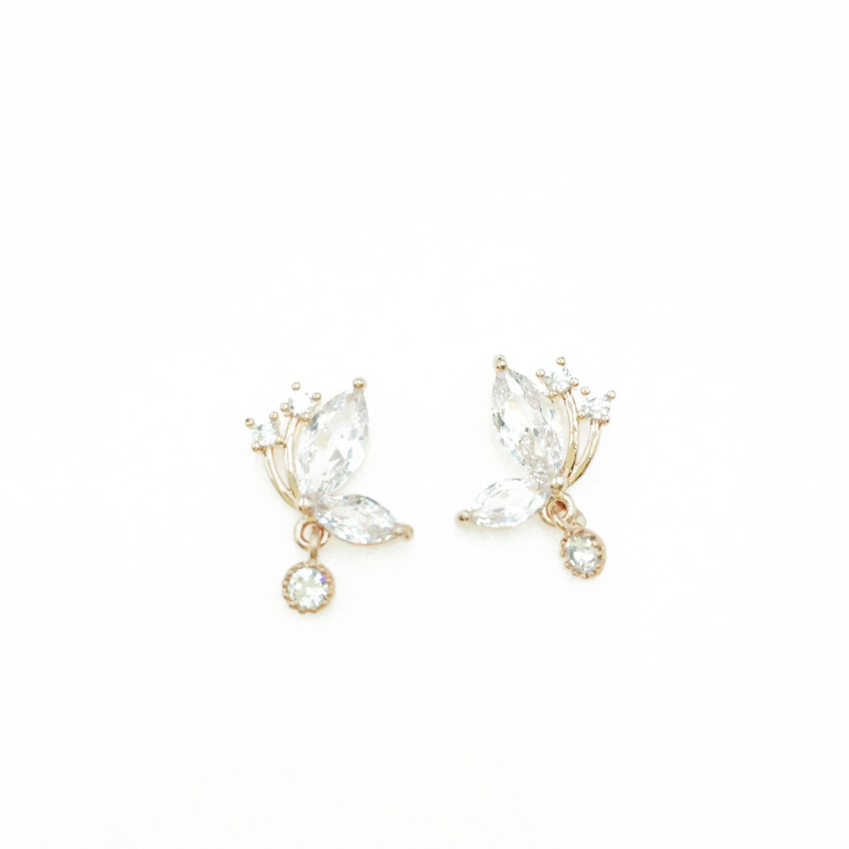 韓國 抗敏電鍍 蝴蝶 造型 玫瑰金 耳針式耳環