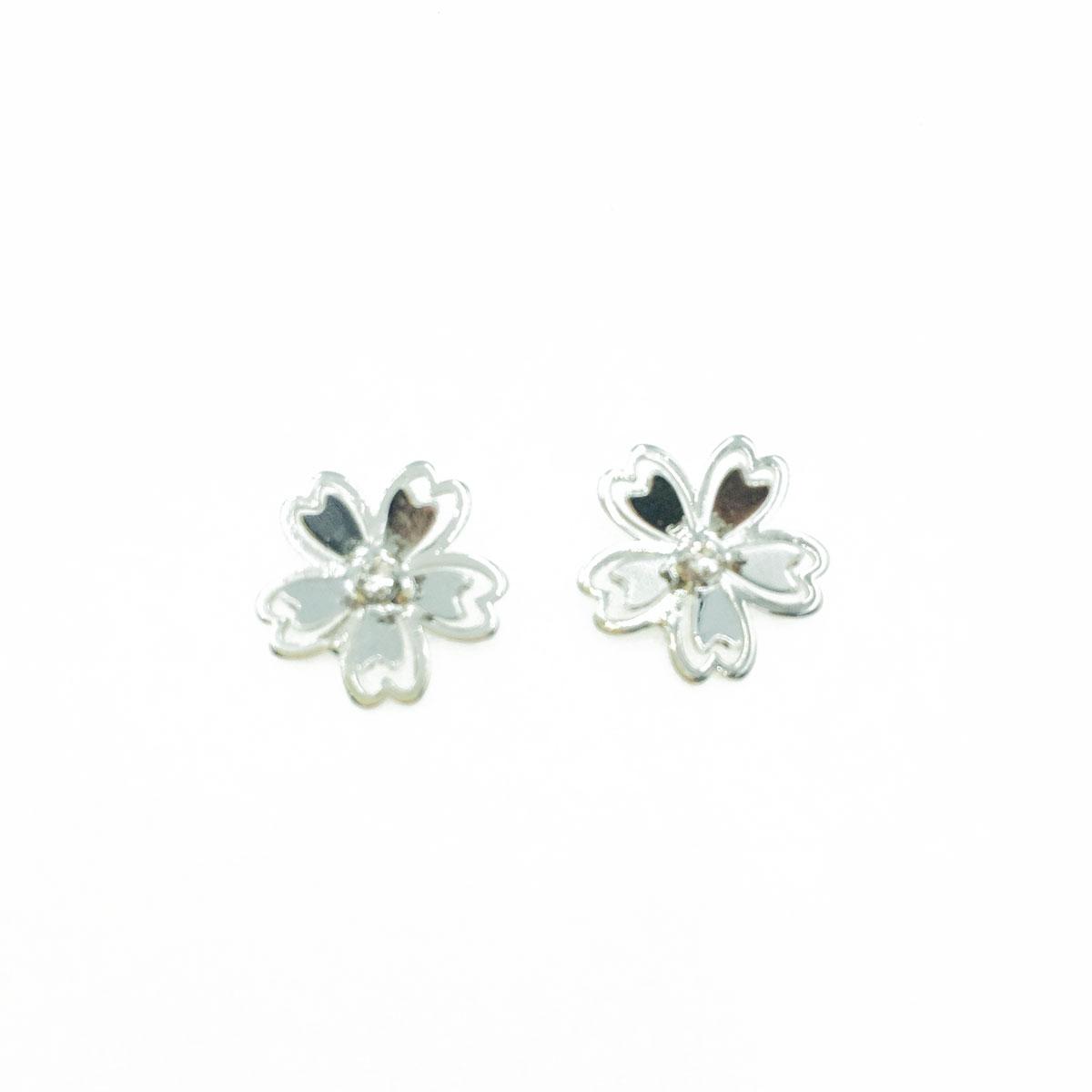 韓國 抗敏電鍍 水鑽 花瓣 造型 銀色 耳針式耳環
