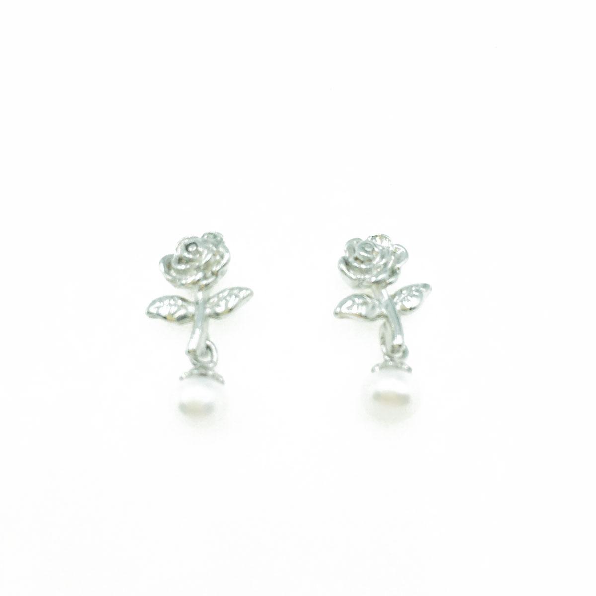 韓國 抗敏電鍍 玫瑰花 垂墜 珍珠 造型 銀色 耳針式耳環