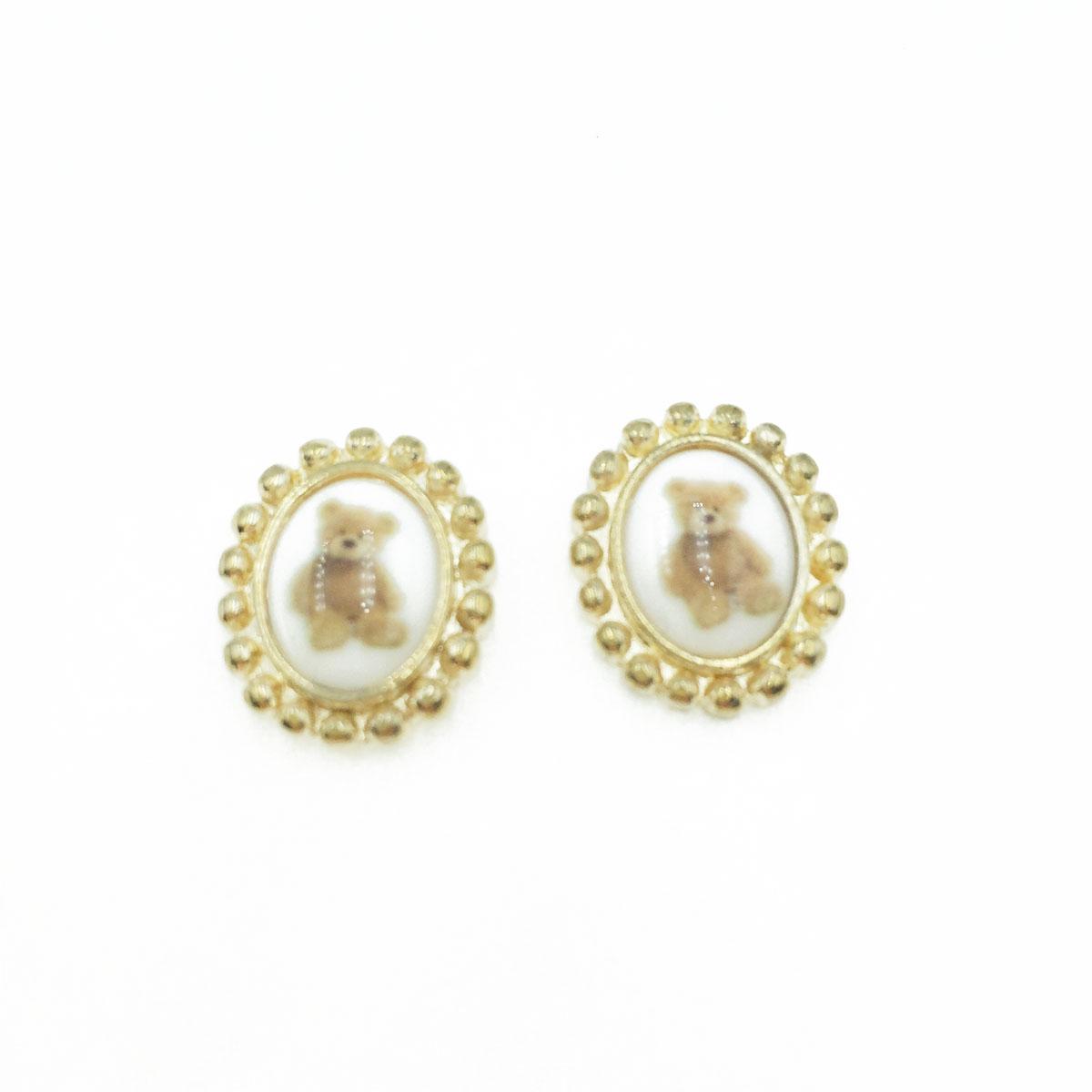 韓國 抗敏電鍍 金邊 橢圓 小熊 造型 耳針式耳環
