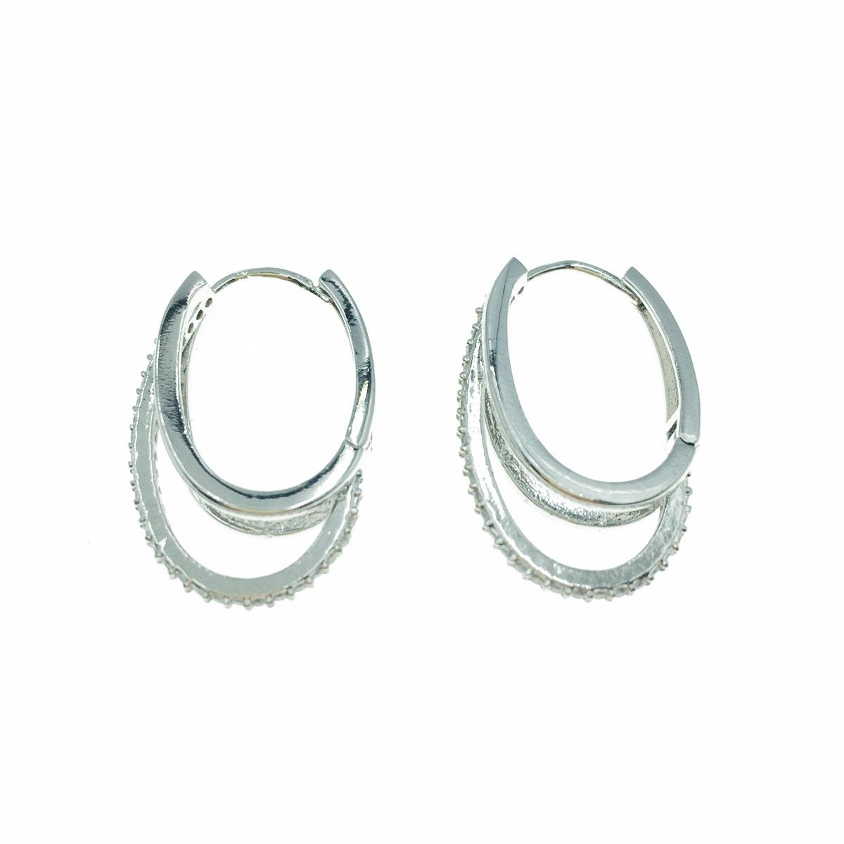 韓國 抗敏電鍍 水鑽 層次 橢圓 造型 銀色 易扣式耳環