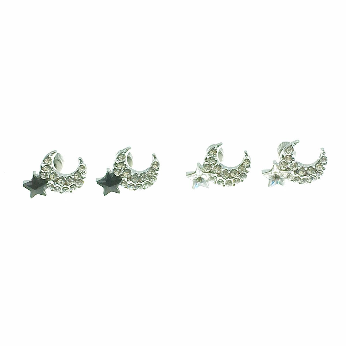 不銹鋼 醫療鋼針 月亮 星星 水鑽 兩色 後鎖式 耳環