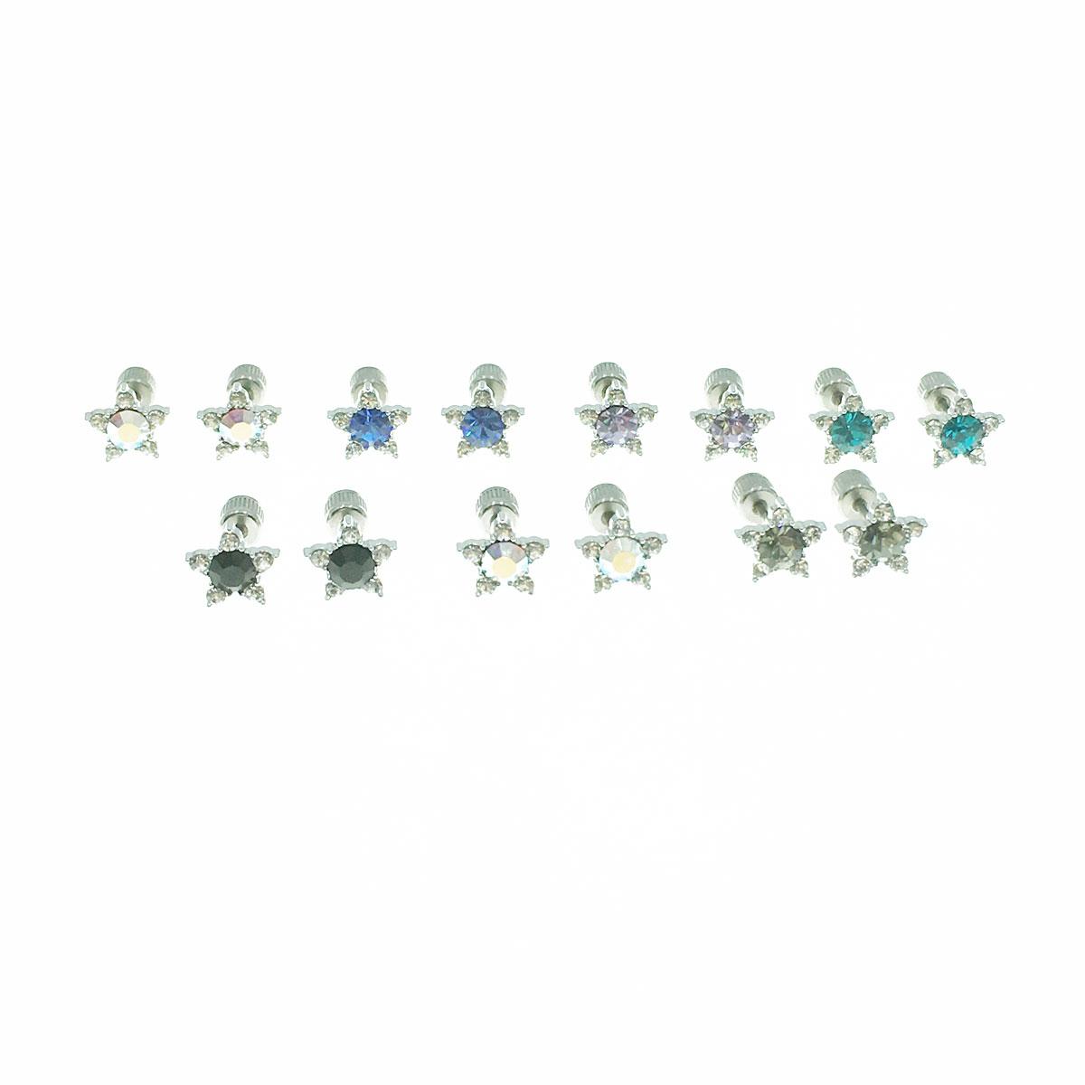 不銹鋼 星星 水鑽 單鑽 醫療鋼針 六色 後瑣式 耳環