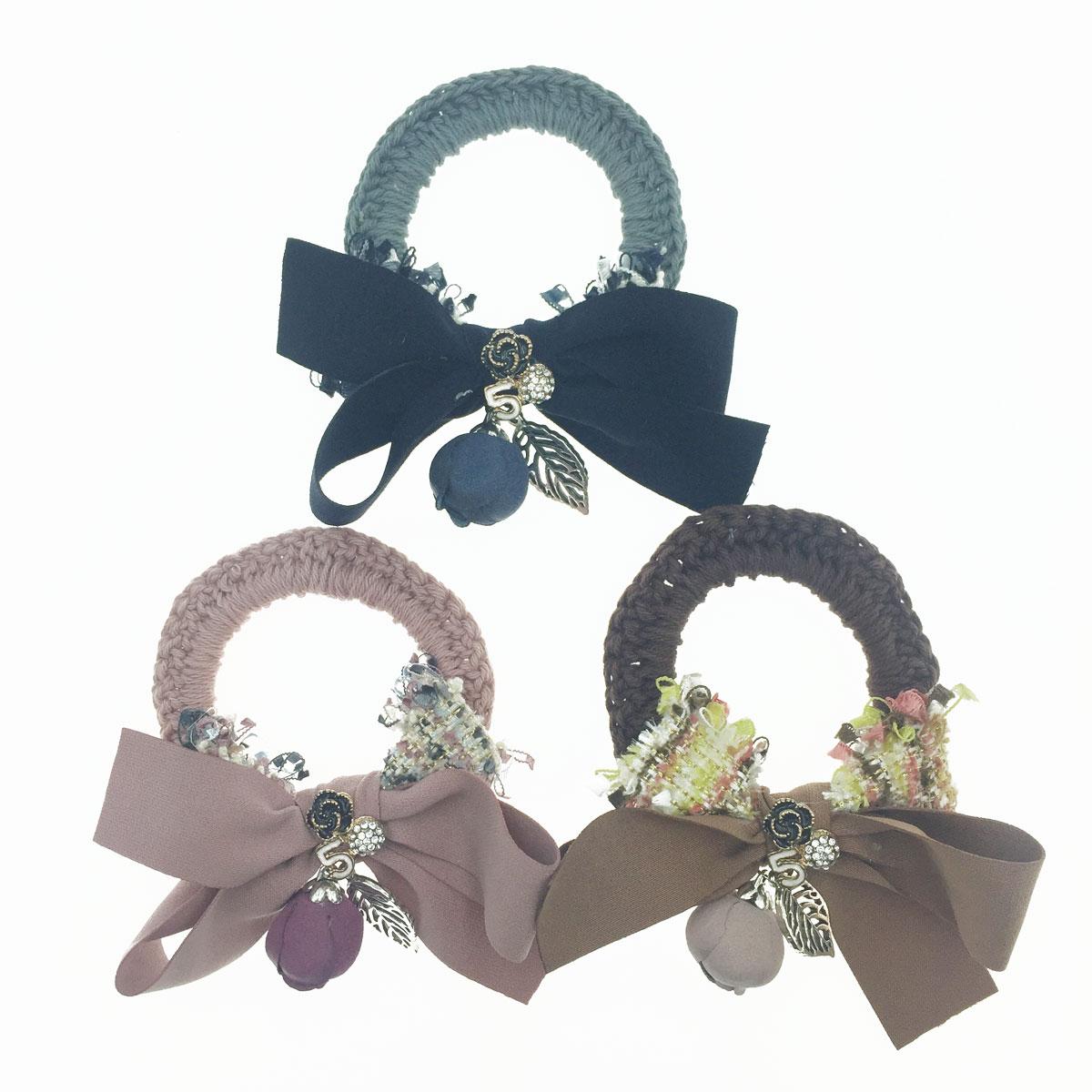 韓國 小香風 蝴蝶結 山茶花 葉子 彩色編織 數字5 3色 髮飾 髮圈 髮束