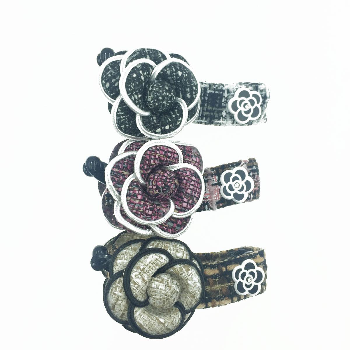 韓國 小香風 山茶花 編織 3色 髮飾 相交夾