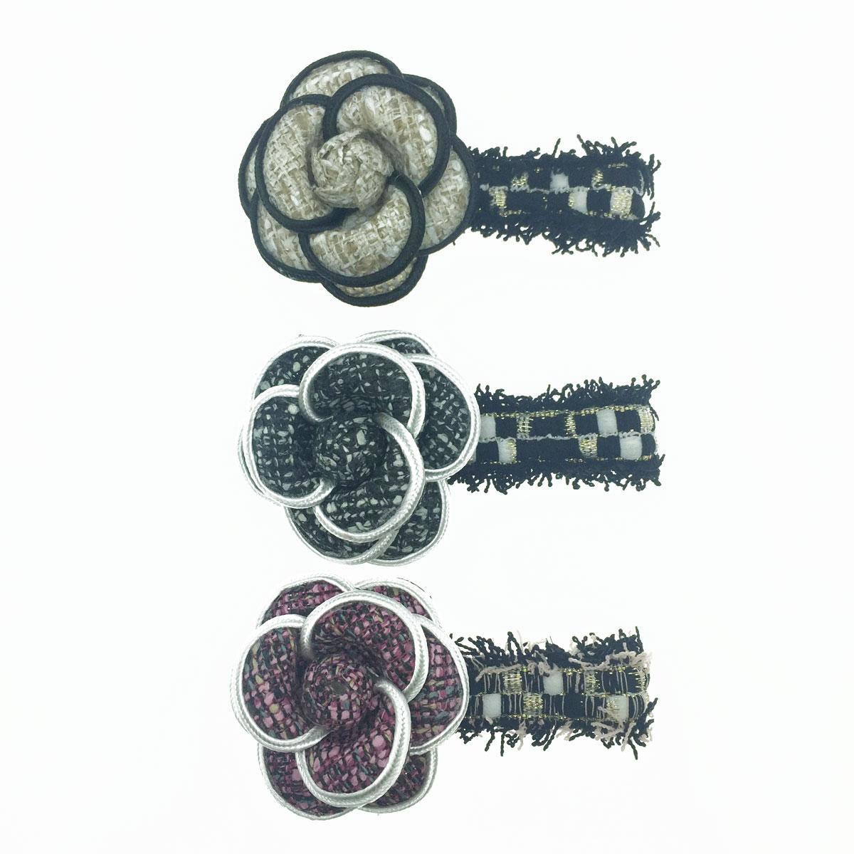 韓國 小香風 山茶花 編織 鬚鬚 3色 髮飾 壓夾