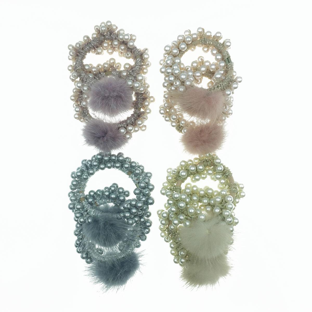 韓國 珠珠 毛球 4色 2入 髮飾 髮圈 髮束