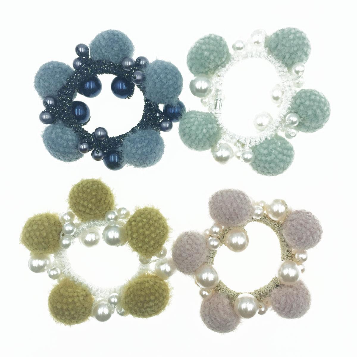 韓國 毛球 珍珠 4色 髮飾 髮圈 髮束