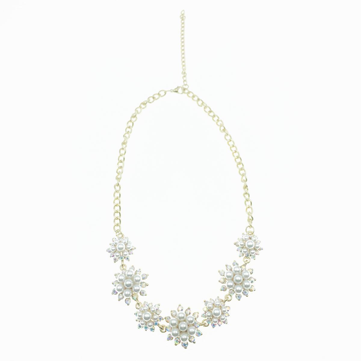 韓國 珍珠 水鑽花 高貴 華麗款 項鍊