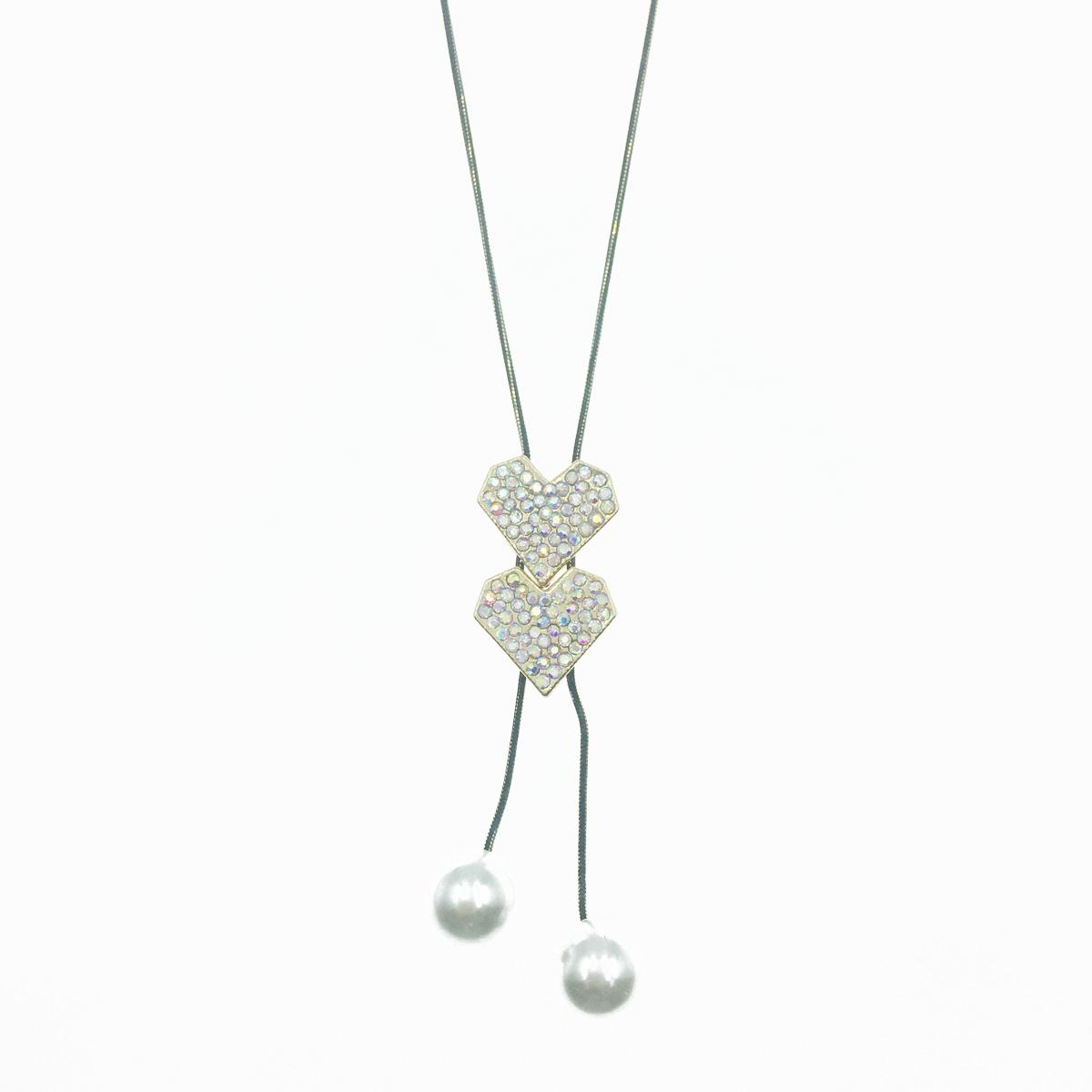 韓國 愛心造型 水鑽 珍珠 可調式 垂墜感 長項鍊