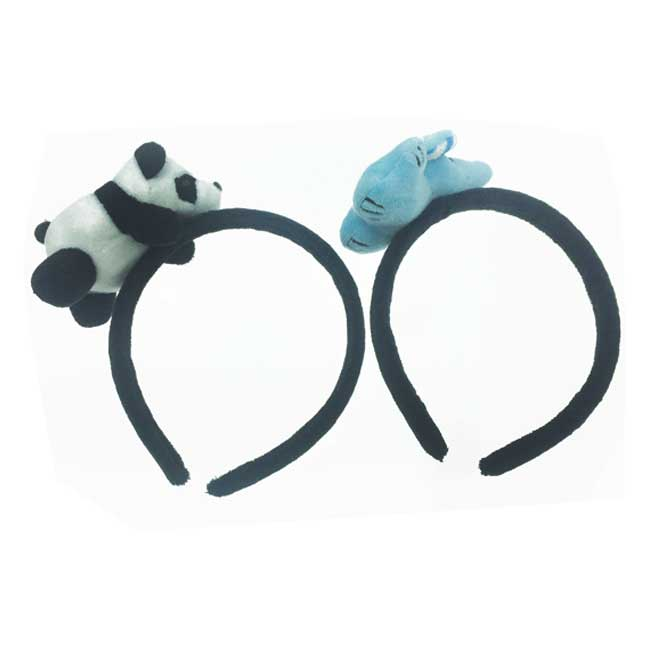 韓國 熊貓 大象 立體 可愛動物 絨毛 頭箍 髮箍