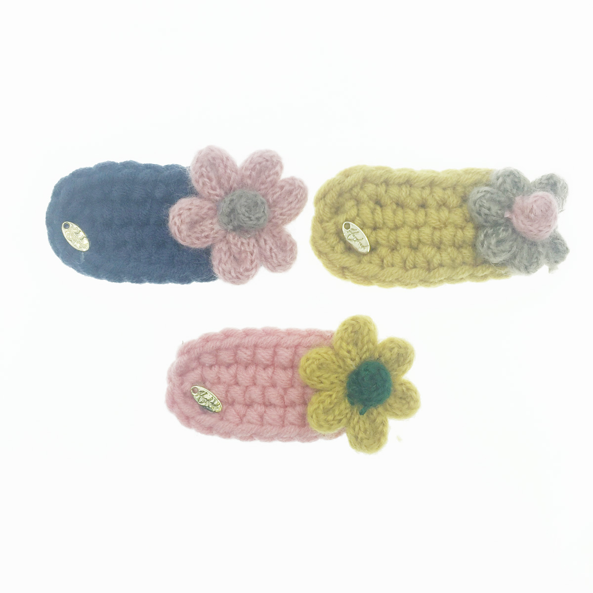 韓國 毛線編織 撞色花 3色 髮飾 彈力夾 髮夾