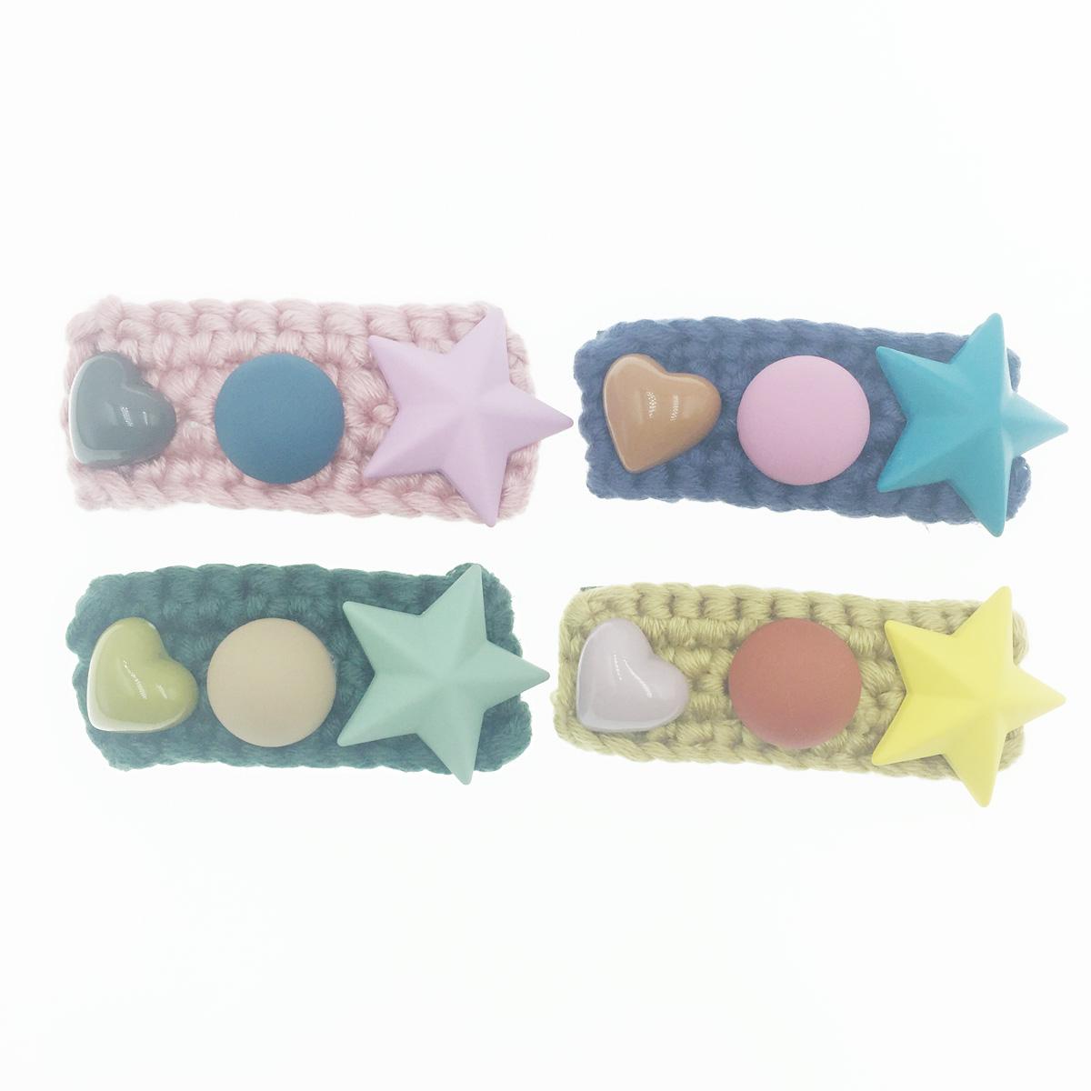 韓國 星星 愛心 毛線編織 4色 髮飾 彈力夾 髮夾