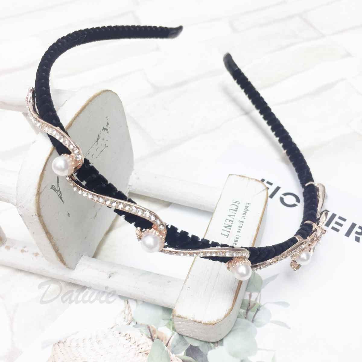 珍珠 水鑽 花 玫瑰金 曲線 髮飾 頭箍 髮箍
