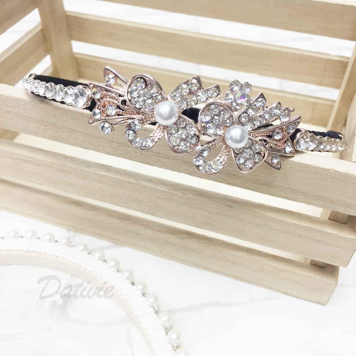 花 蝴蝶結 水鑽 珍珠 甜美款 髮飾 頭箍 髮箍