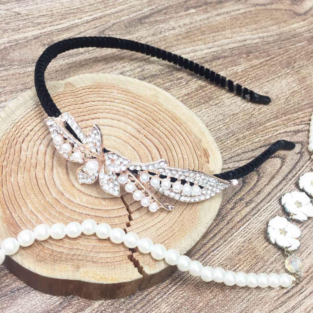 花 葉子 珍珠 水鑽 髮飾 頭箍 髮箍