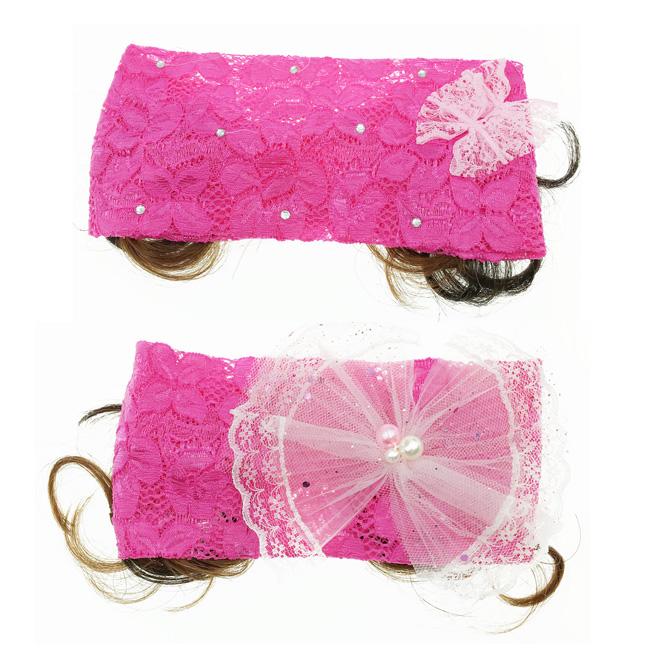 韓國 蕾絲 水鑽 珍珠 蝴蝶結 2款 兒童假髮 幼童髮帶